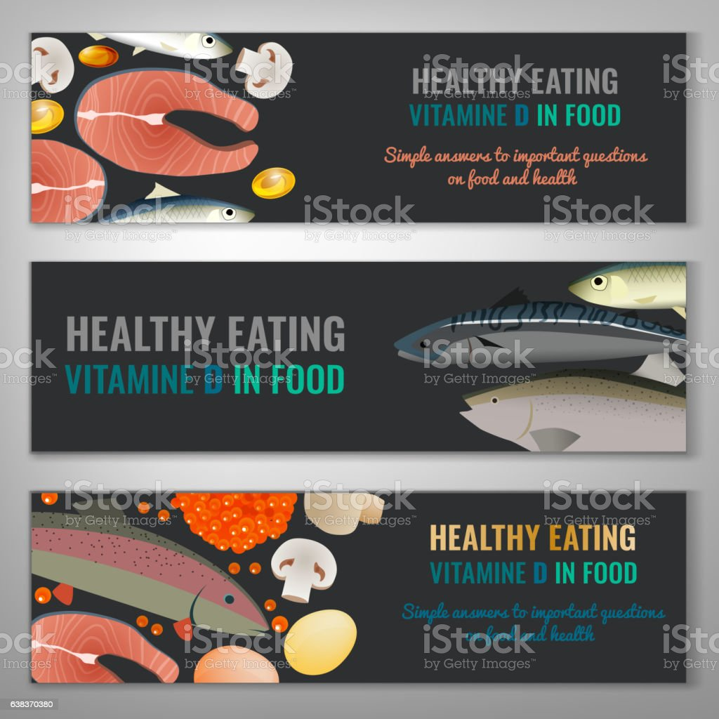 Vitamin D Banners vector art illustration