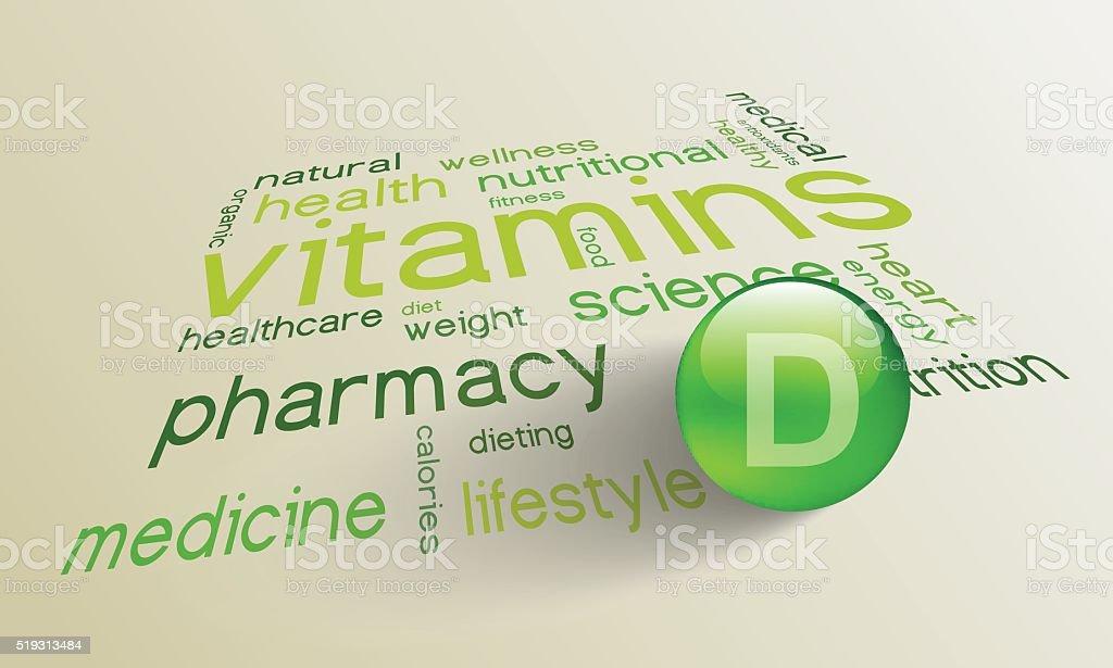 Vitamin D element for a healthy life vector art illustration