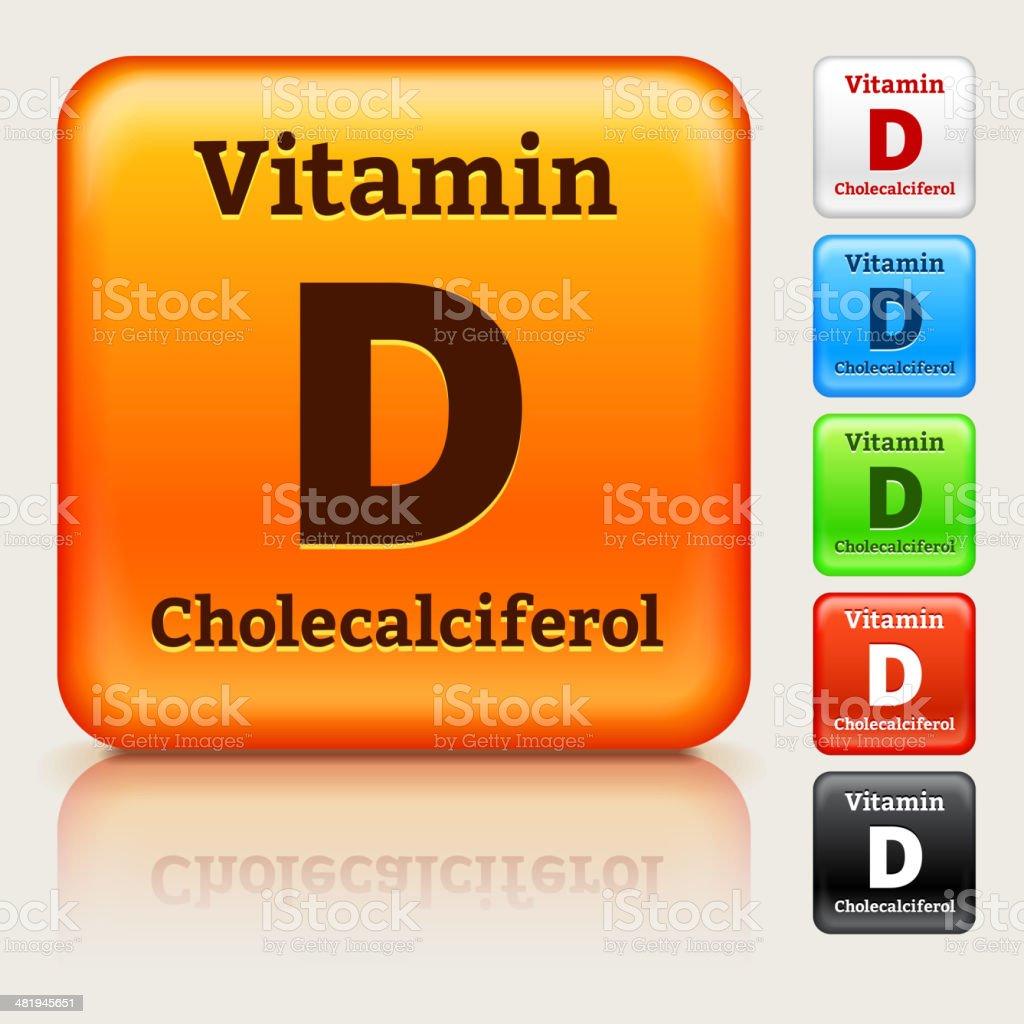 Vitamin D Multi Colored Button Set vector art illustration