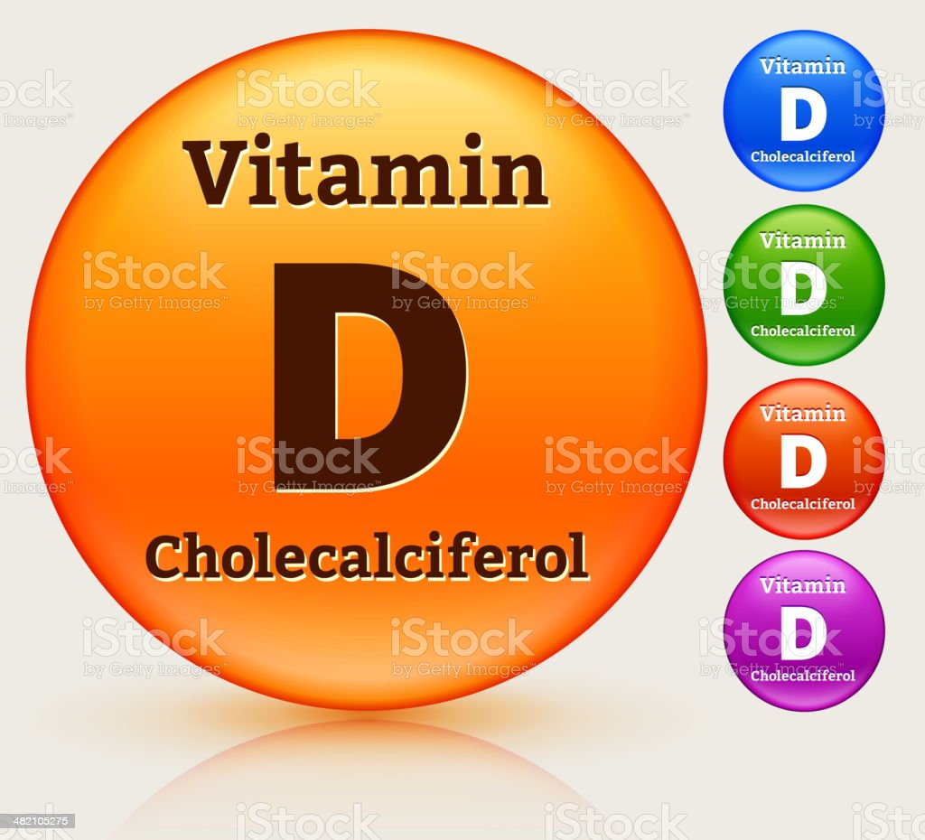 Vitamin D Multi Colored Button Set royalty-free stock vector art