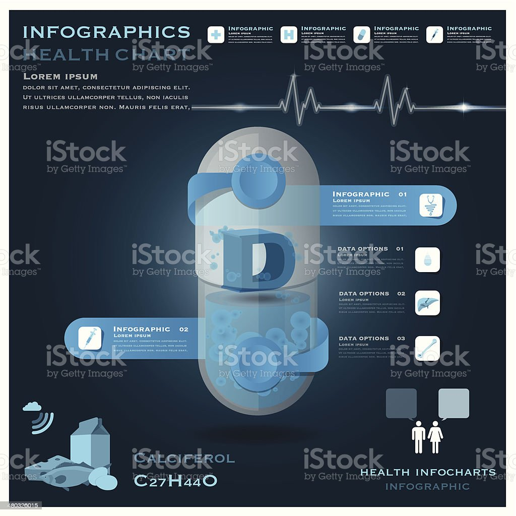 Vitamin D Pill Capsule Health And Medical Infographic Infocharts royalty-free stock vector art