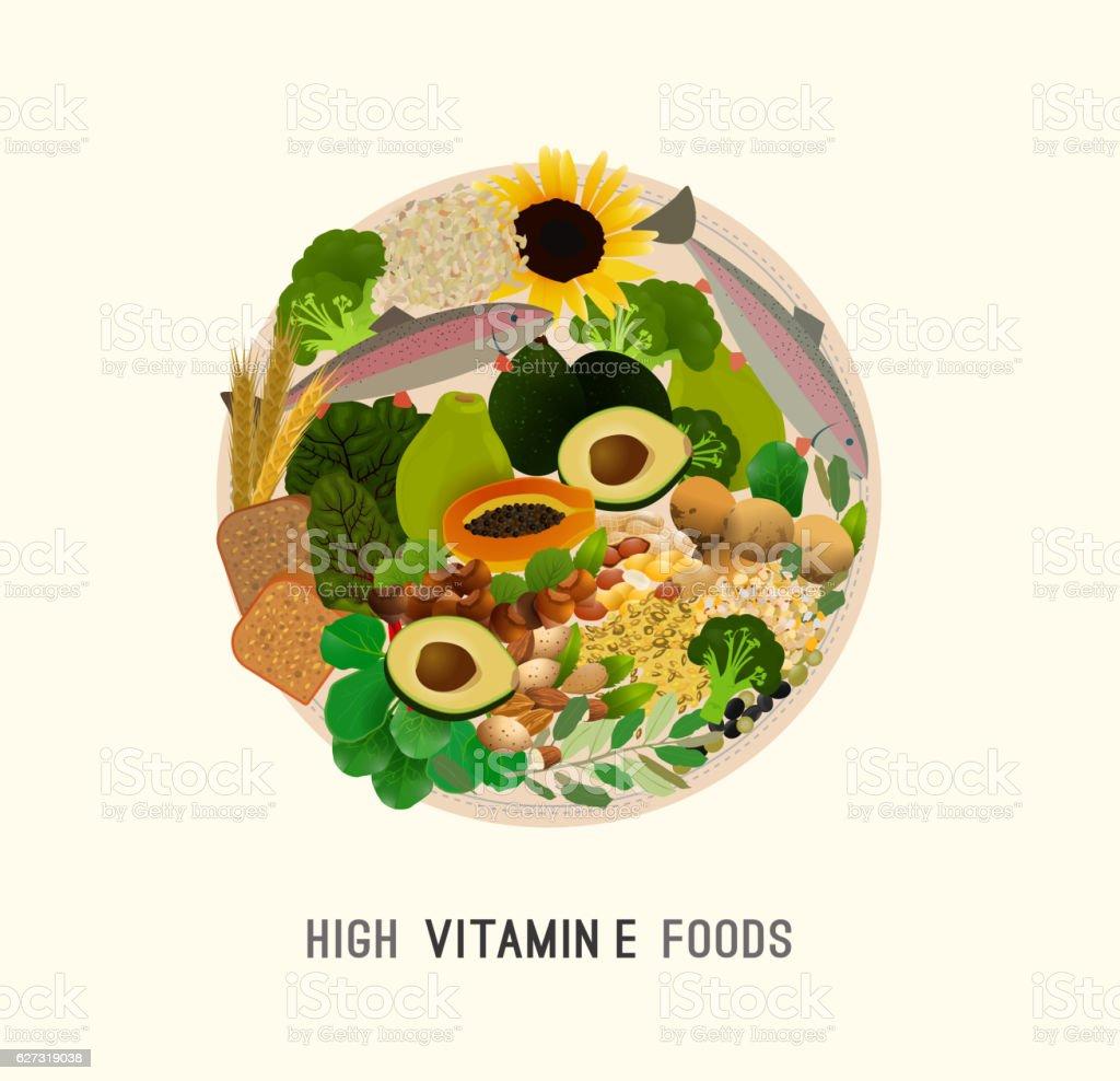 Vitamin E in Food vector art illustration