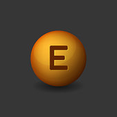 Vitamin E Orange Glossy Sphere Icon on Dark Background. Vector