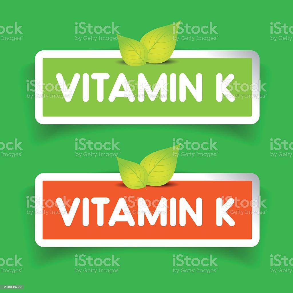 Vitamin K label vector set vector art illustration