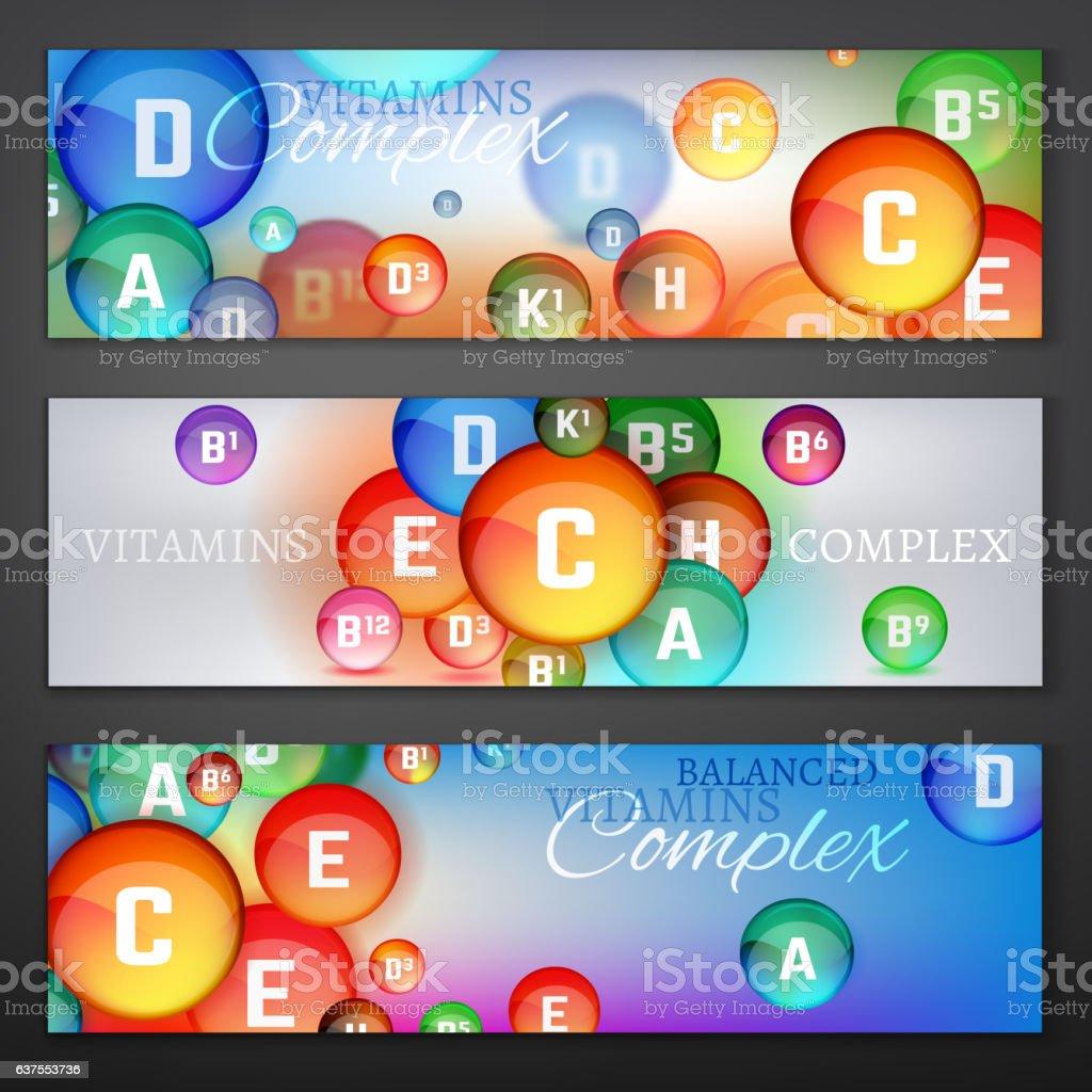 Vitamins Complex Banners vector art illustration
