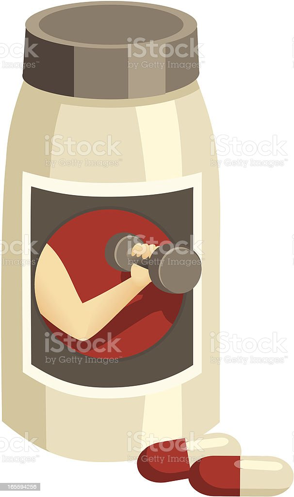 Vitamins for Body Building: Capsules and Bottle royalty-free stock vector art
