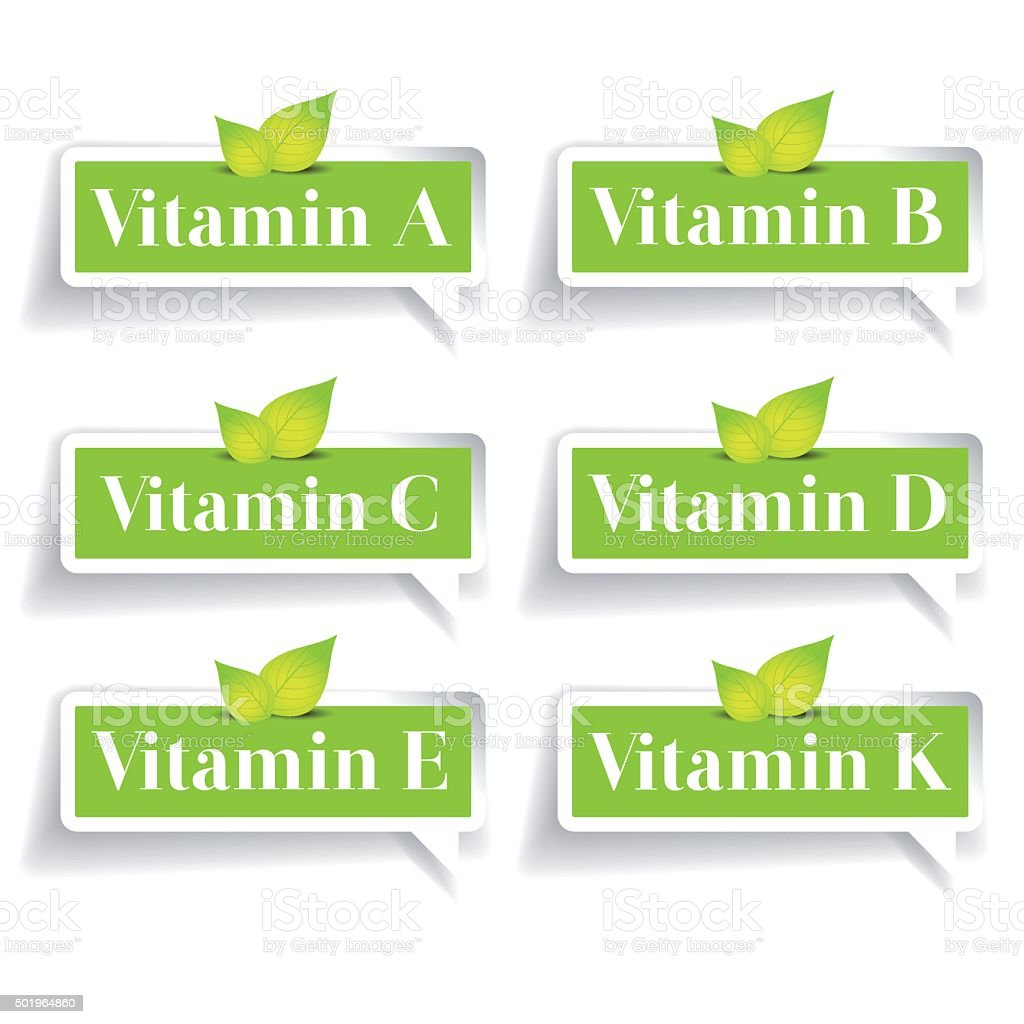 Vitamins label set vector vector art illustration