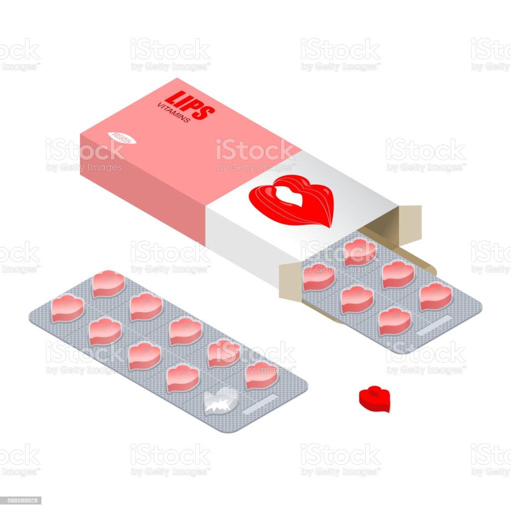 Vitamins Lips. Lip augmentation pills. Tablets in pack. Natural vector art illustration