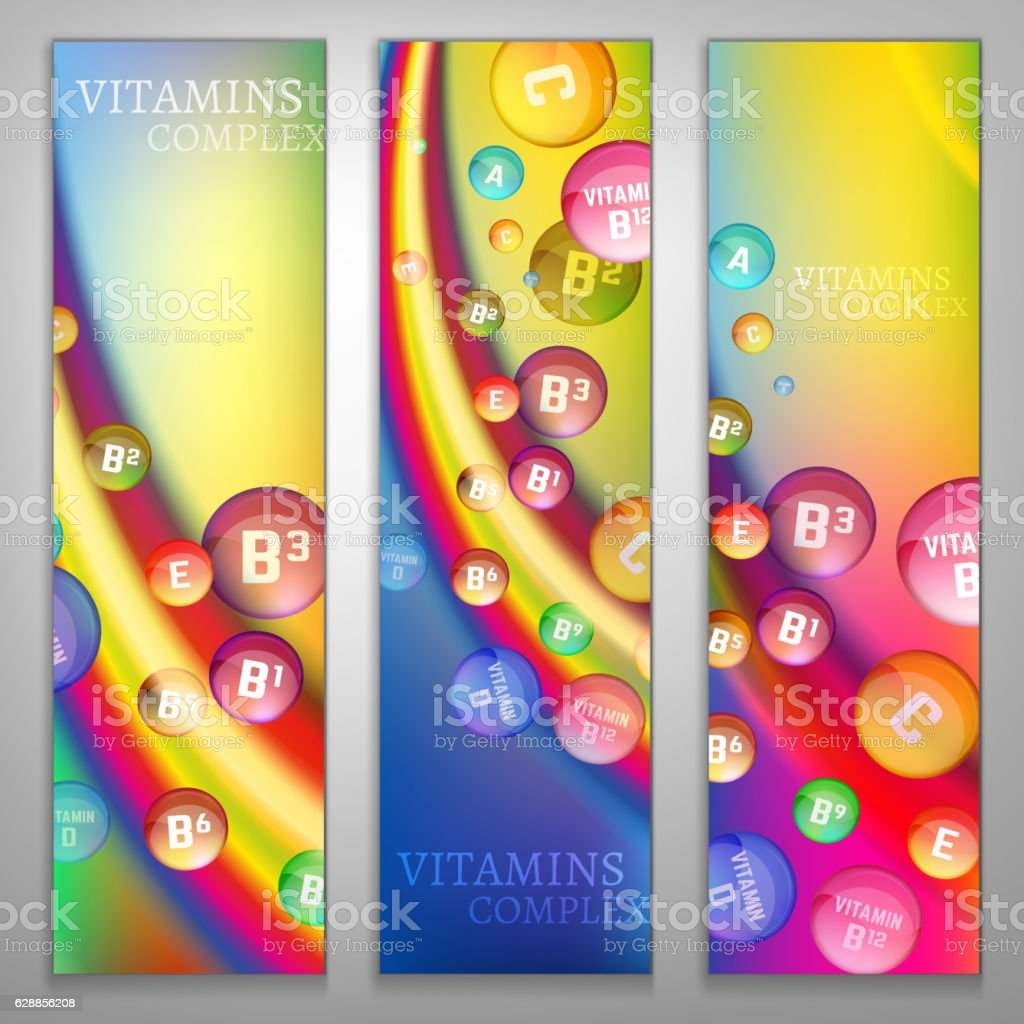 Vitamin complex banners set. Vertical image on a bright background....