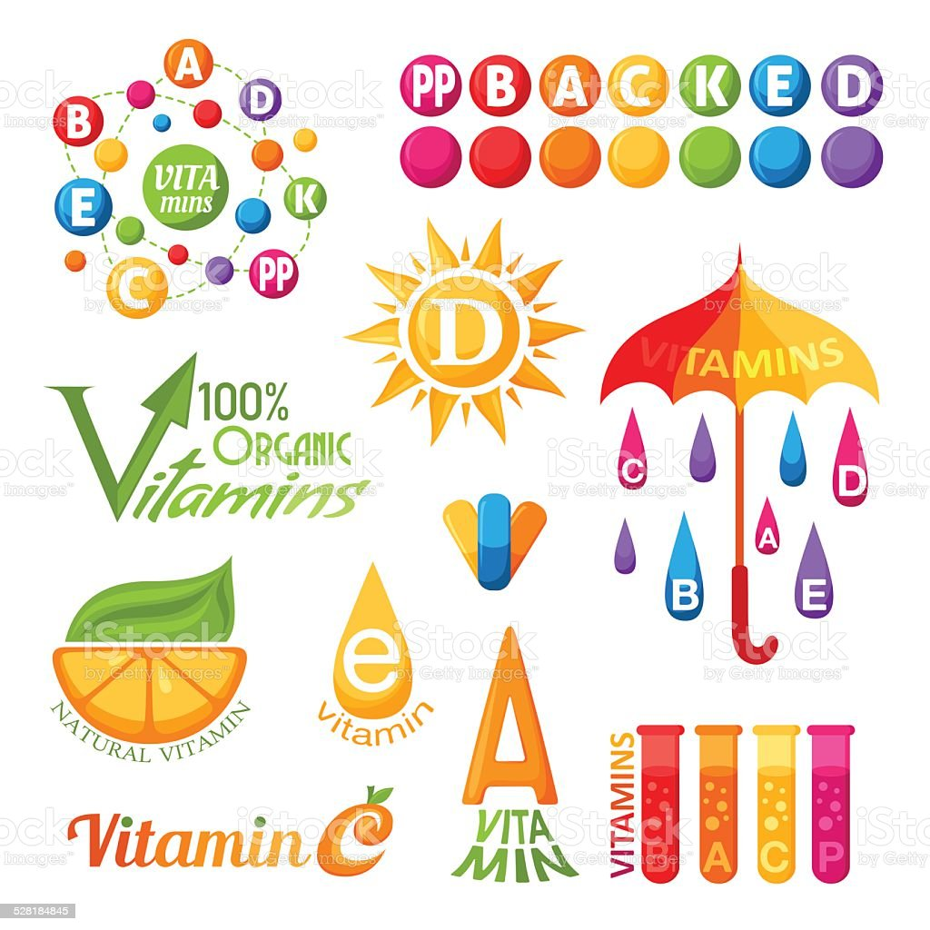 Vitamins symbols, emblems and icons for design vector art illustration