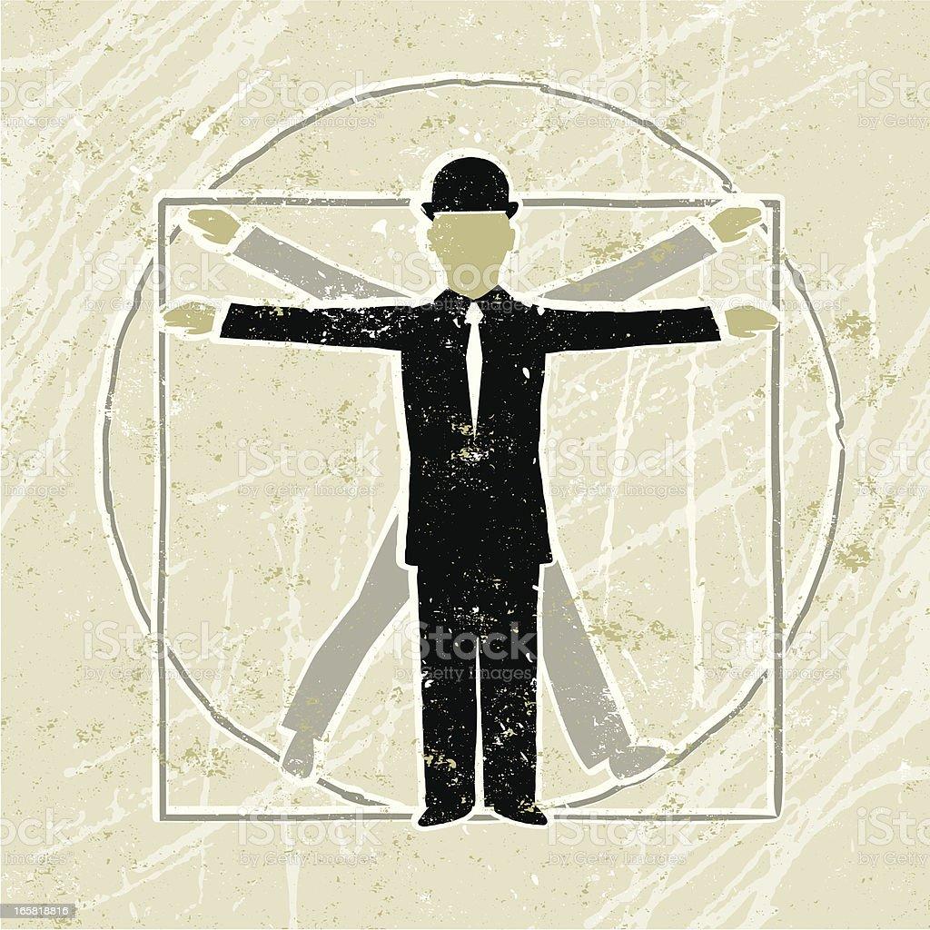 Vitruvian Business Man Diagram showing Proportion vector art illustration