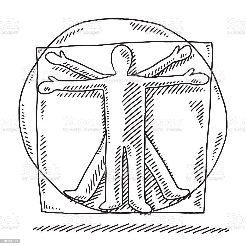 Vitruvian Man Human Proportions Drawing vector art illustration
