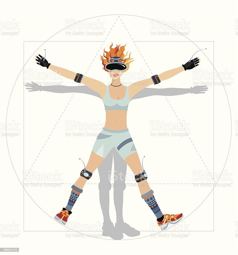 Vitruvian Woman, gaming fan royalty-free stock vector art