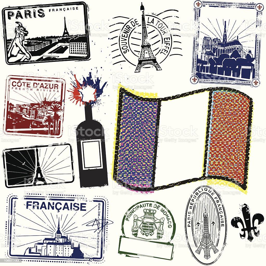Viva la Stamps de France royalty-free stock vector art