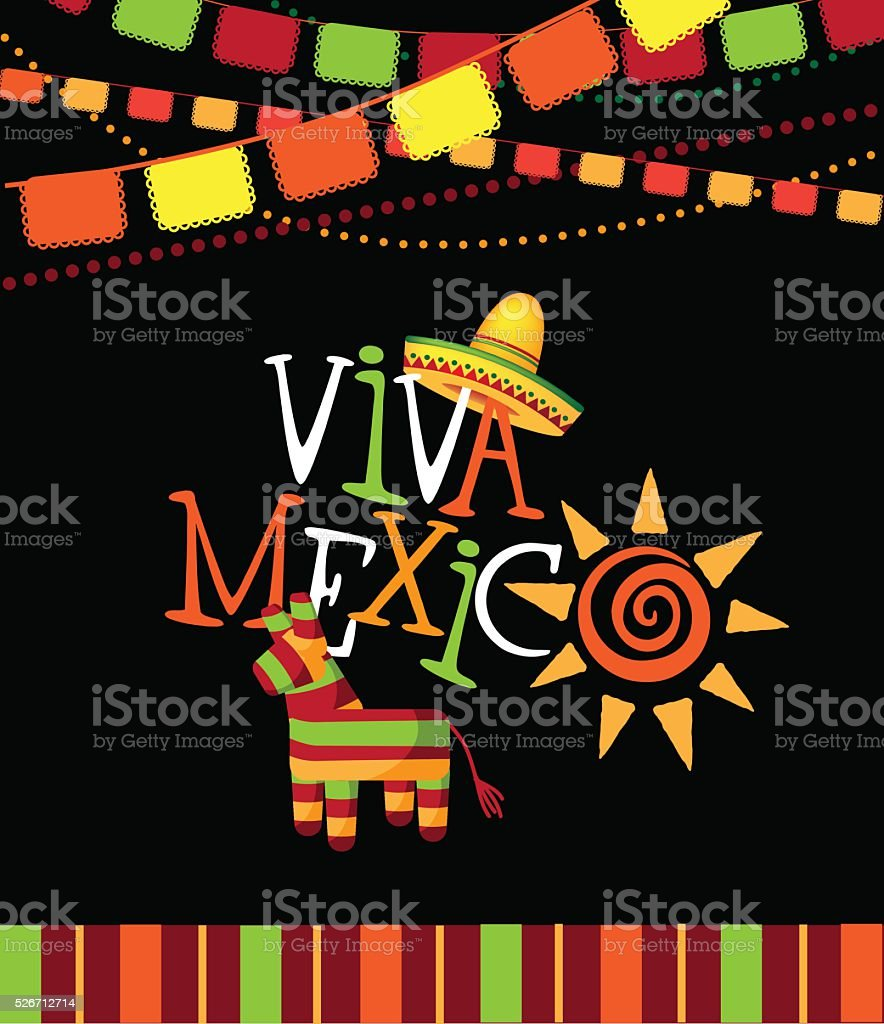 Viva Mexico  hand drawn type design. vector art illustration
