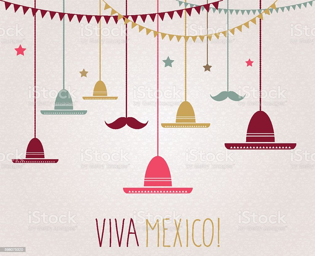 Viva Mexico. Independence Day. Hanging colorful sombrero and mustache vector art illustration