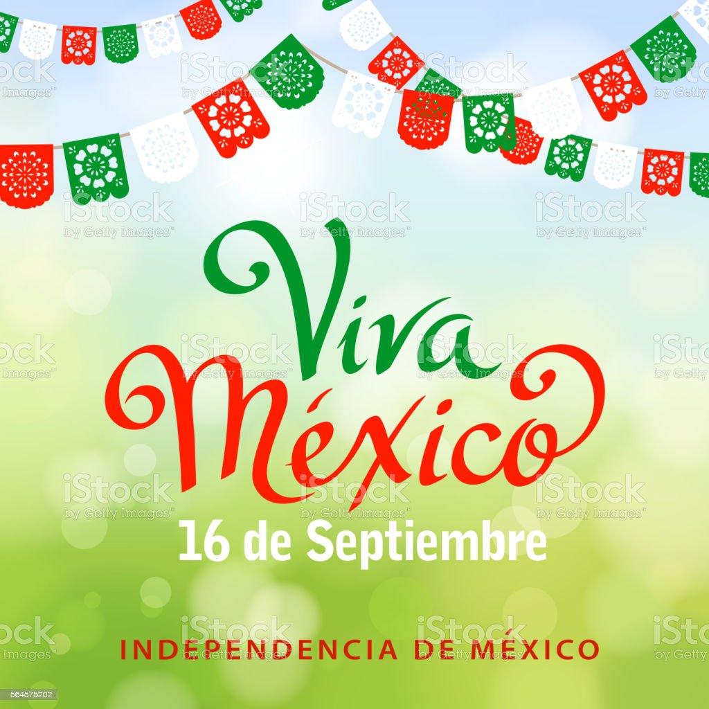 Viva Mexico Papel Picado vector art illustration