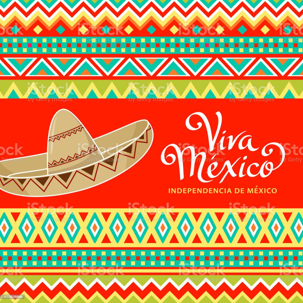 Viva Mexico Sombrero vector art illustration