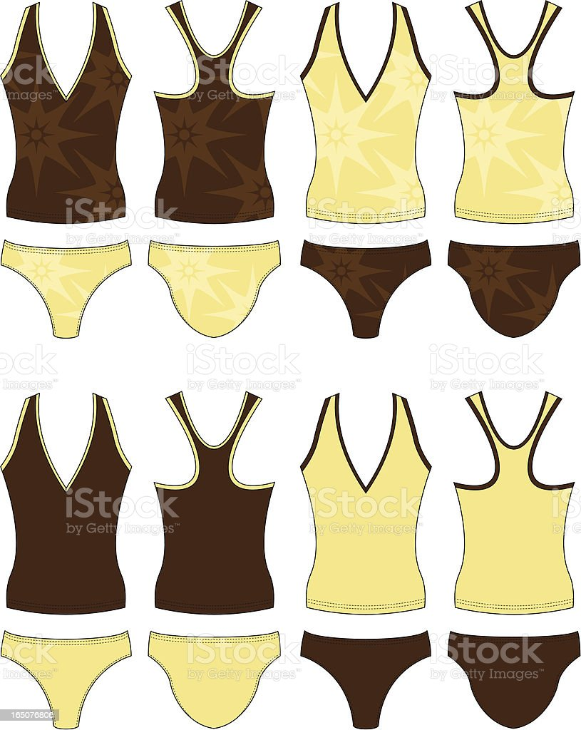 V-Neck Tankini & Brief Set Front & Back royalty-free stock vector art