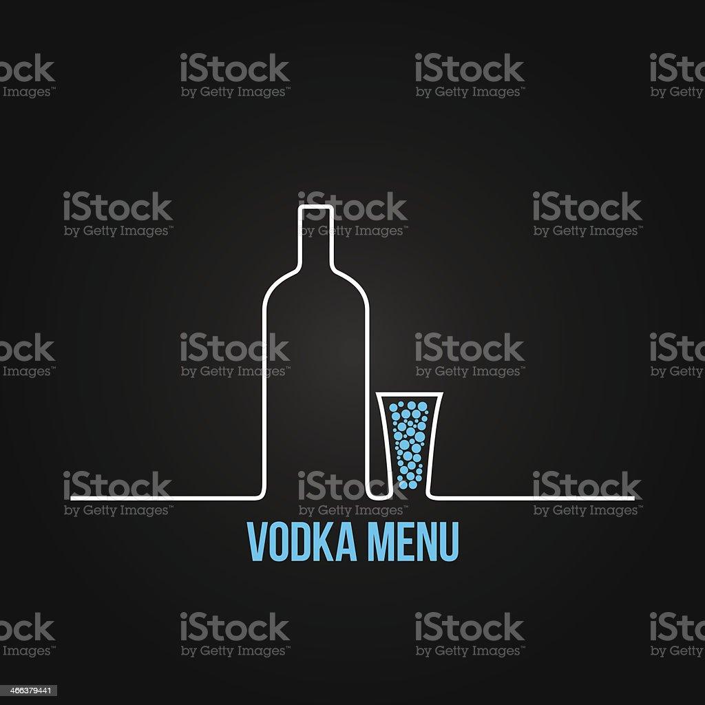 vodka bottle glass deign menu background vector art illustration