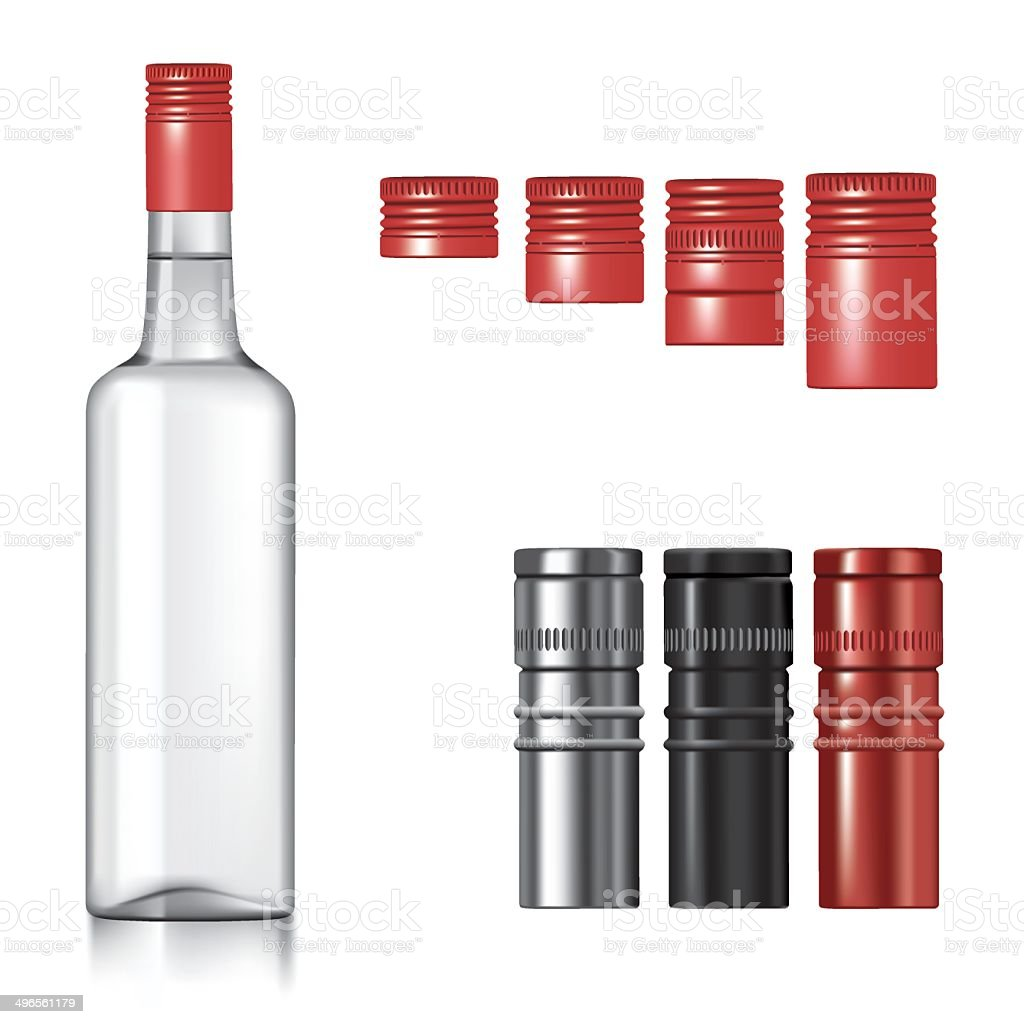 Vodka bottle with caps vector art illustration
