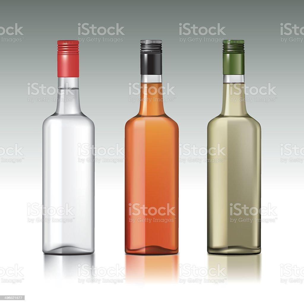 Vodka bottles vector art illustration