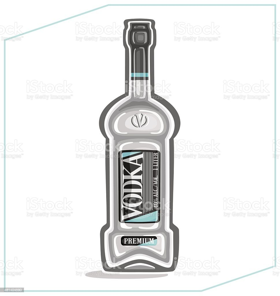 Vodka in the bottle vector art illustration