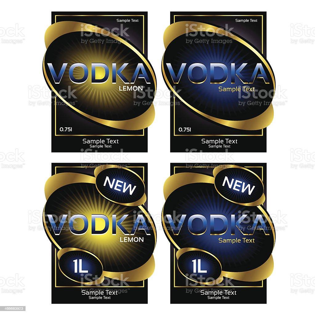 Vodka label design vector art illustration