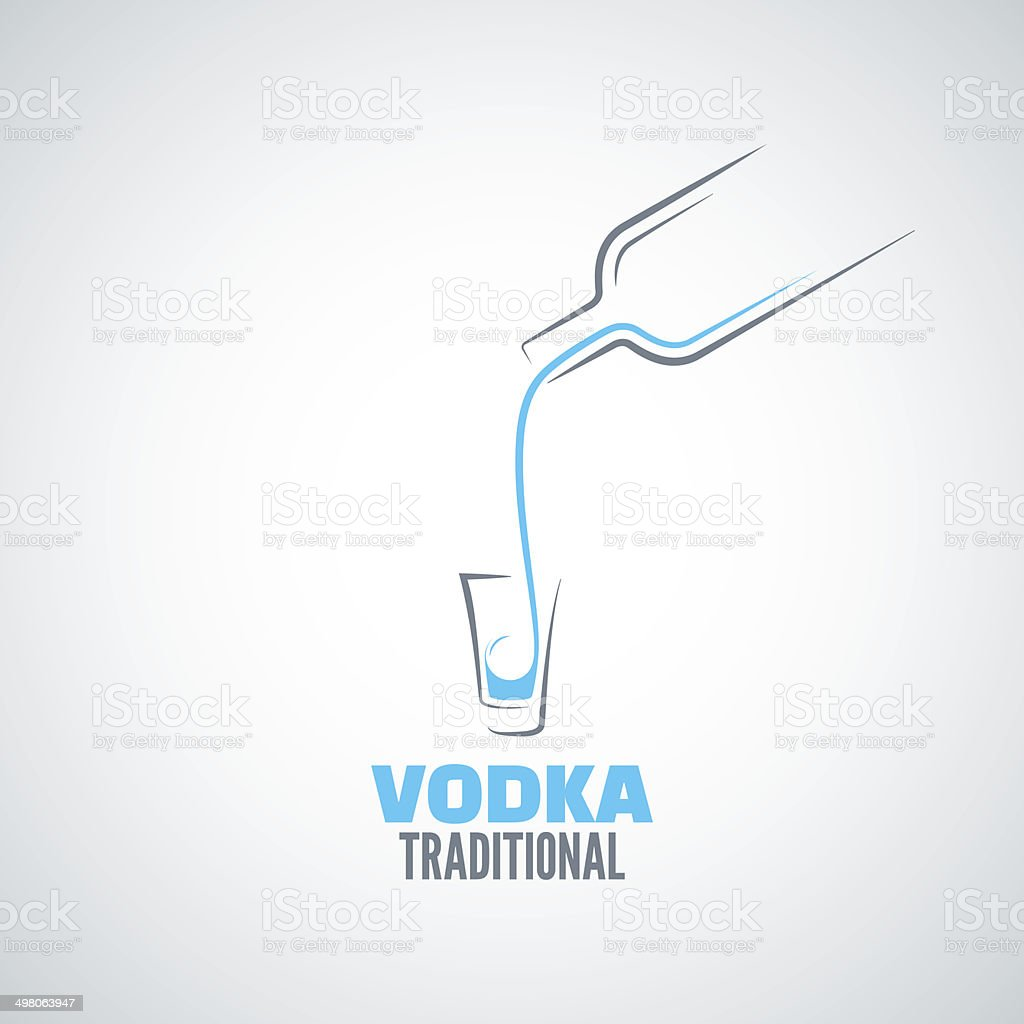 vodka shot glass bottle background vector art illustration
