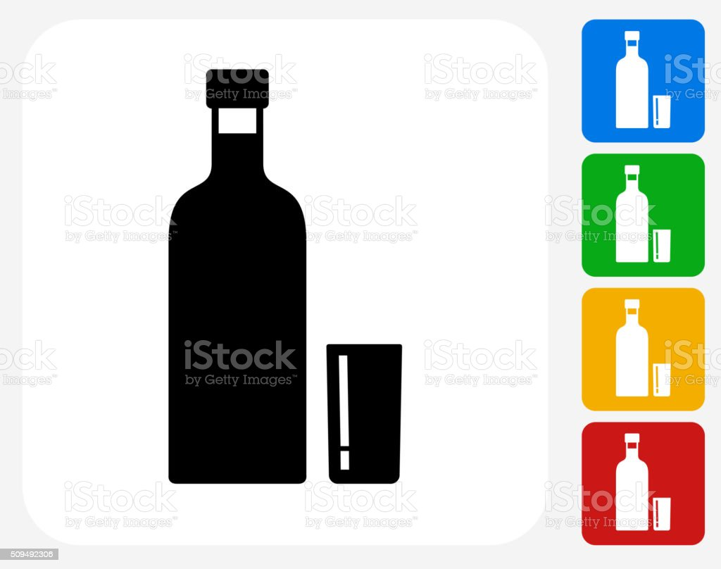 Vodka Shot Icon Flat Graphic Design vector art illustration