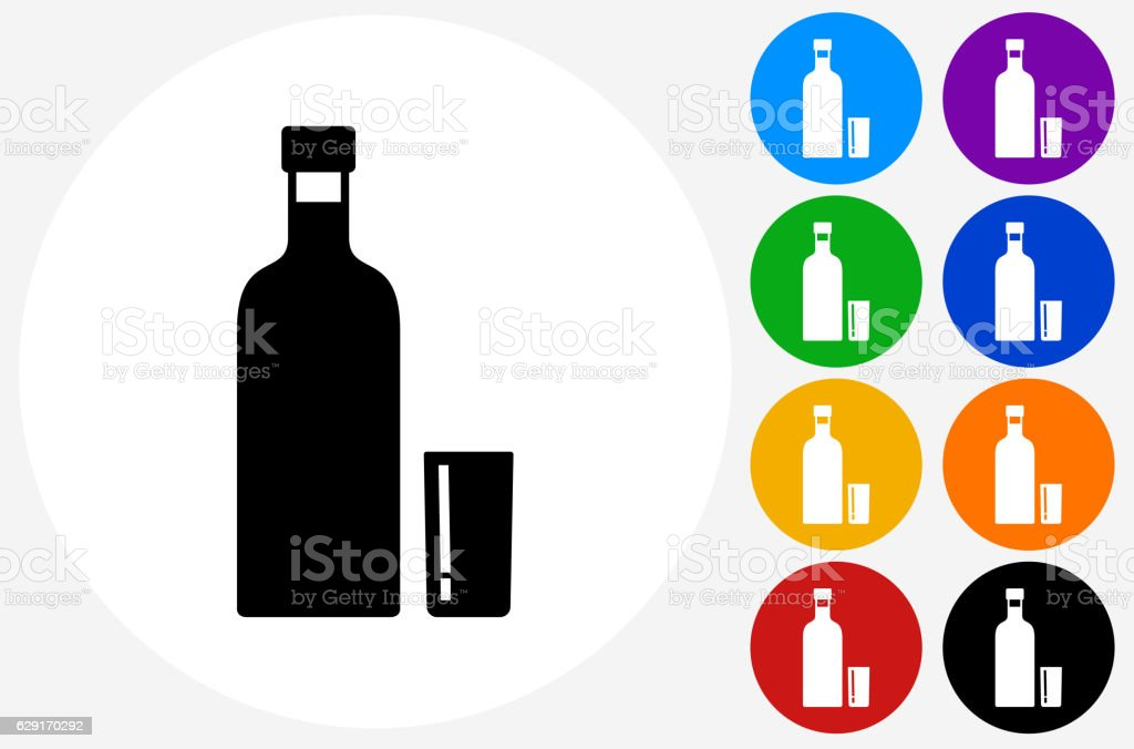 Vodka Shot Icon on Flat Color Circle Buttons vector art illustration