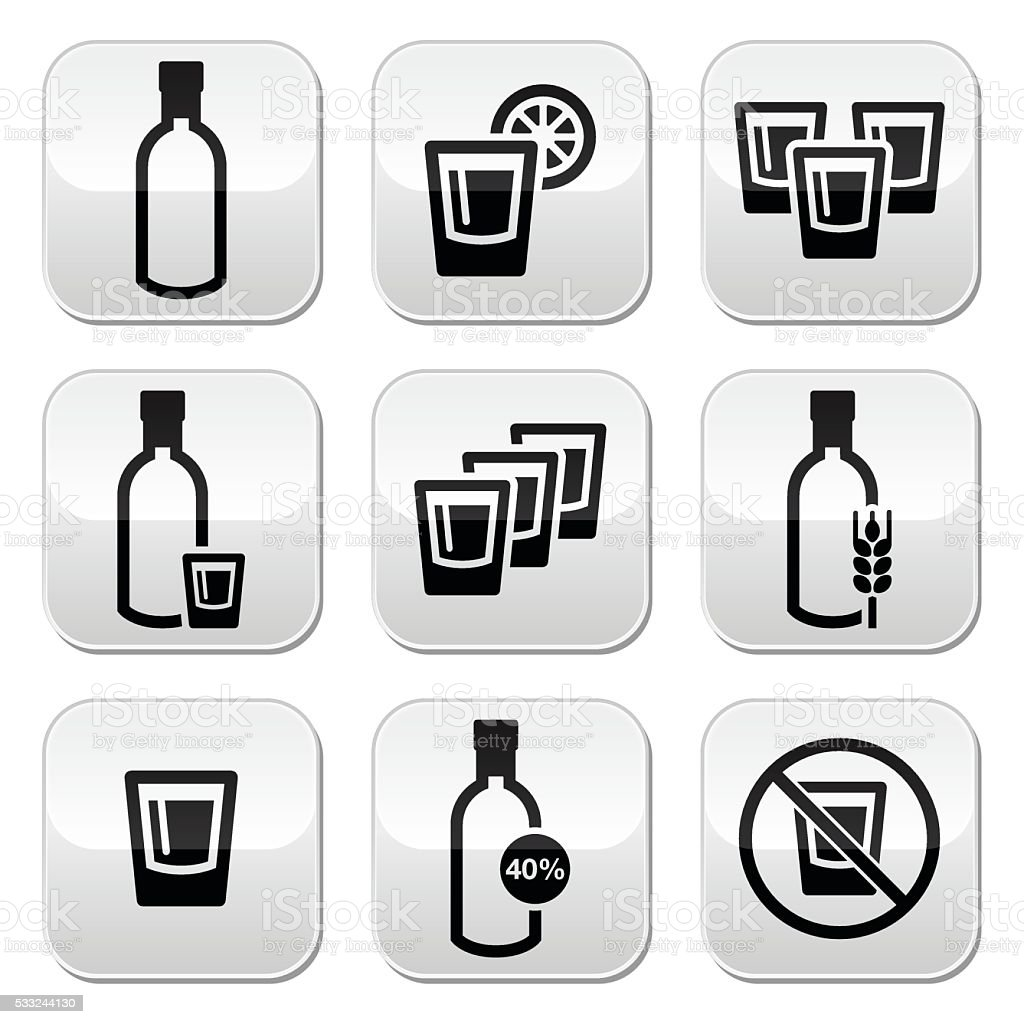 Vodka, strong alcohol buttons set vector art illustration