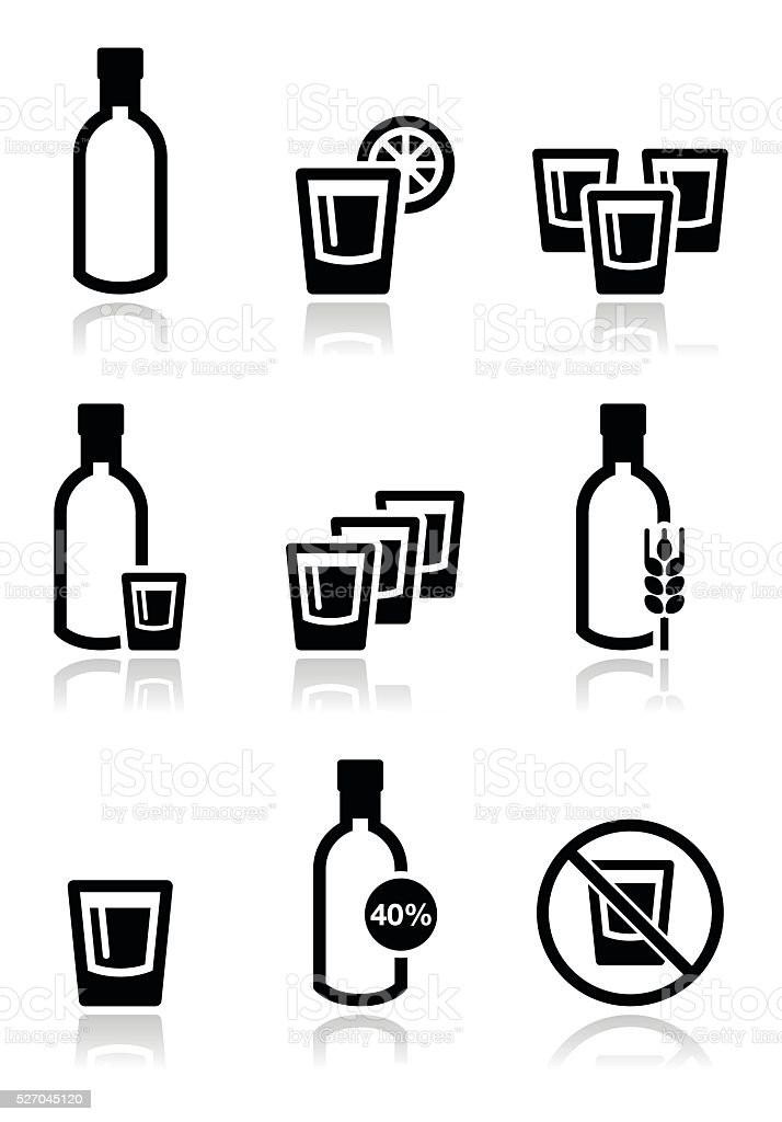 Vodka, strong alcohol icons set vector art illustration