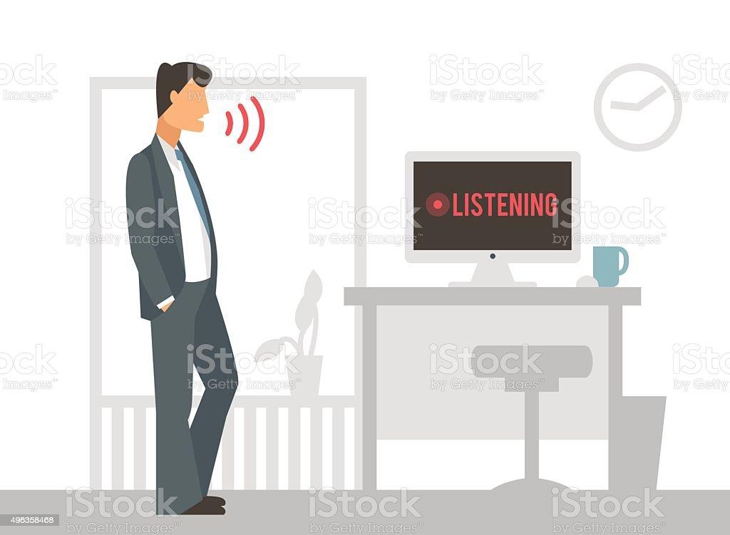 Voice control vector illustration. Smart computer vector art illustration