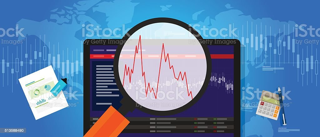 volatile market stock volatility down crash trend price investment index vector art illustration