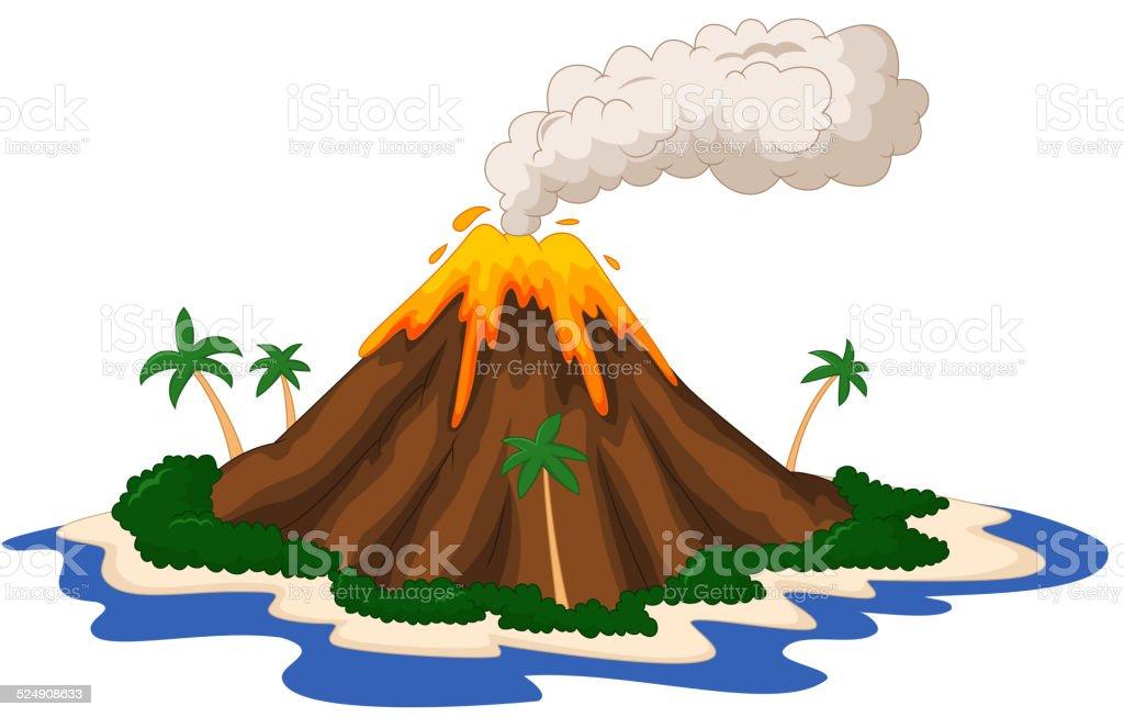 Volcanic island cartoon vector art illustration