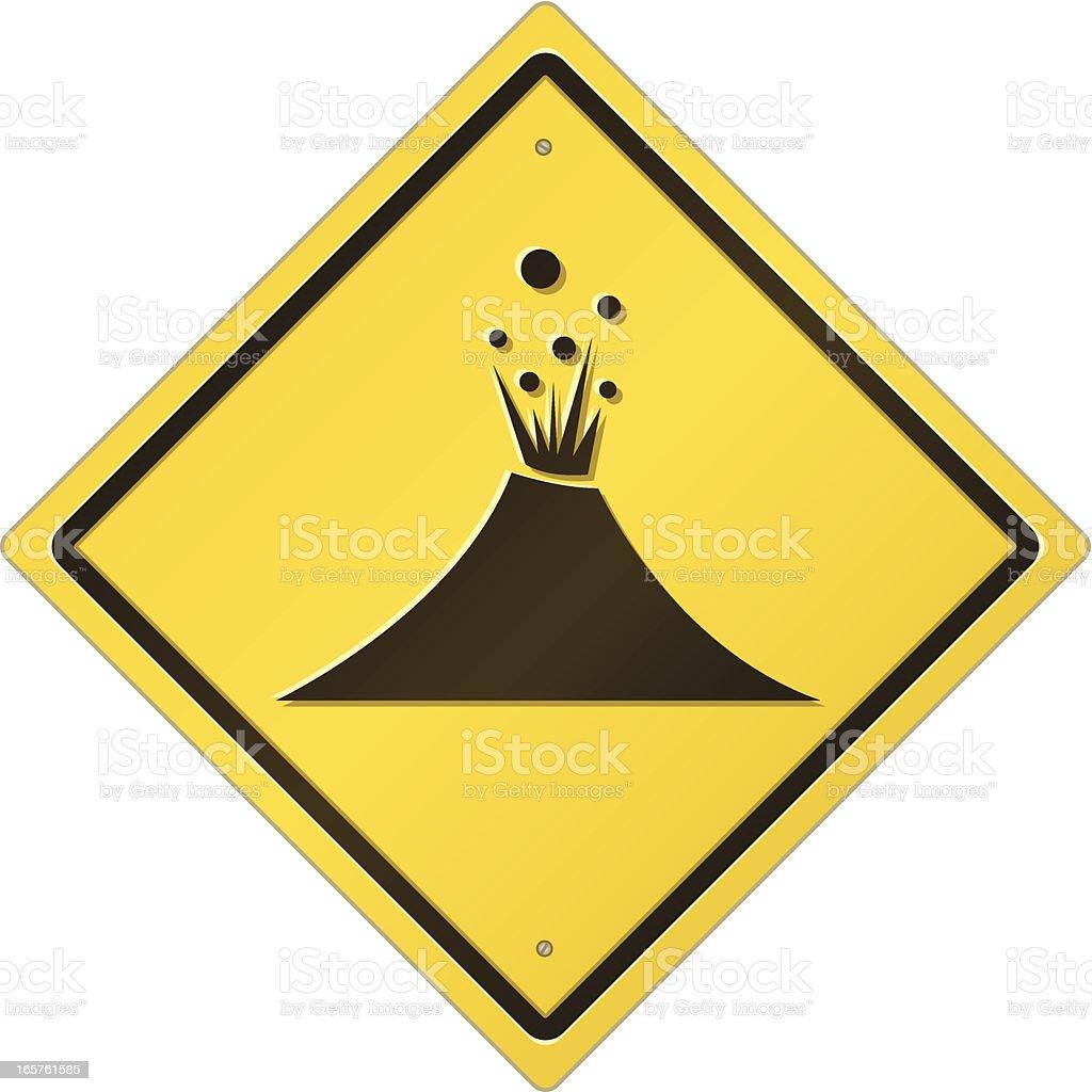 Volcano Area Road Sign vector art illustration