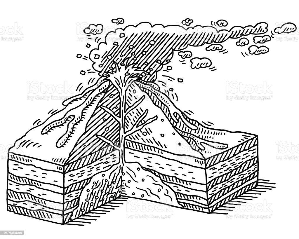 Volcano Cross Section Diagram Drawing vector art illustration