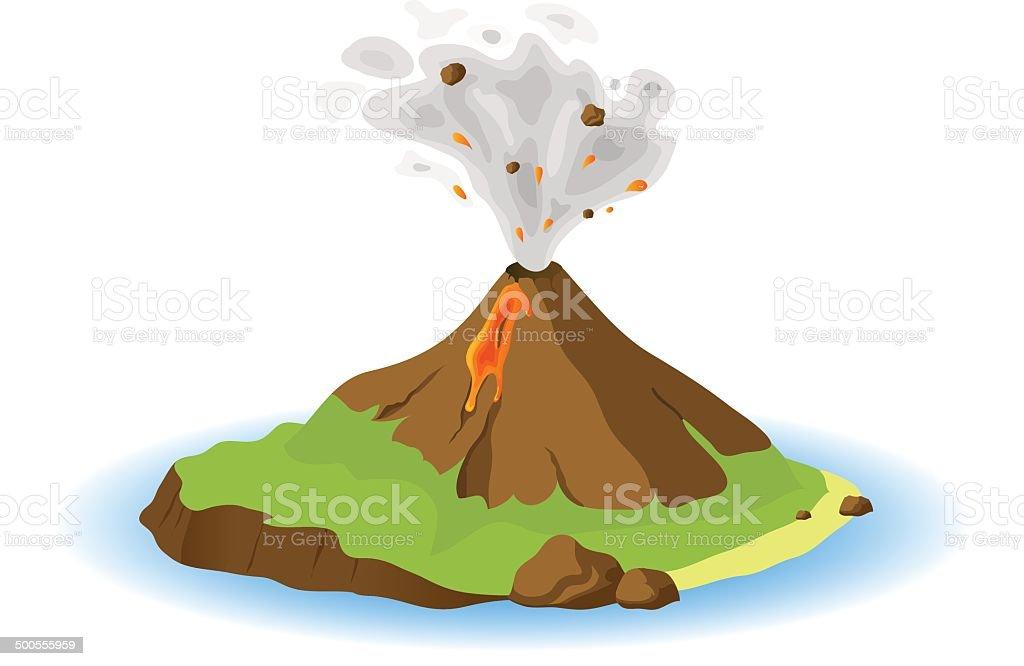 Volcano erupting vector art illustration