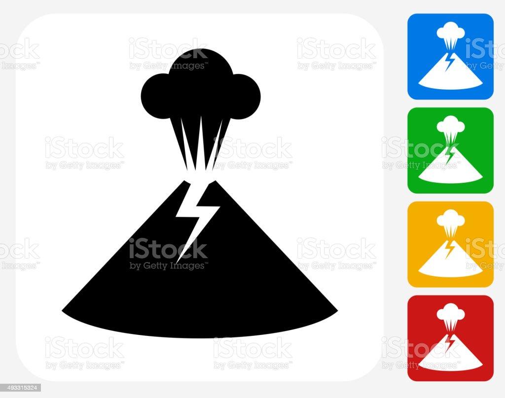 Volcano Eruption Icon Flat Graphic Design vector art illustration