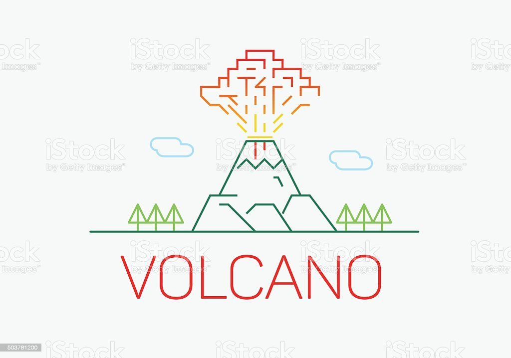 Volcano exploding thin line icon flat design logo elements. vector art illustration