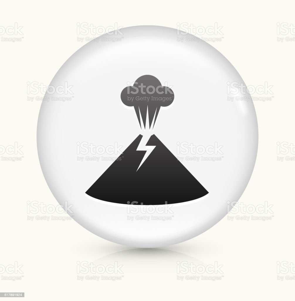Volcano icon on white round vector button vector art illustration