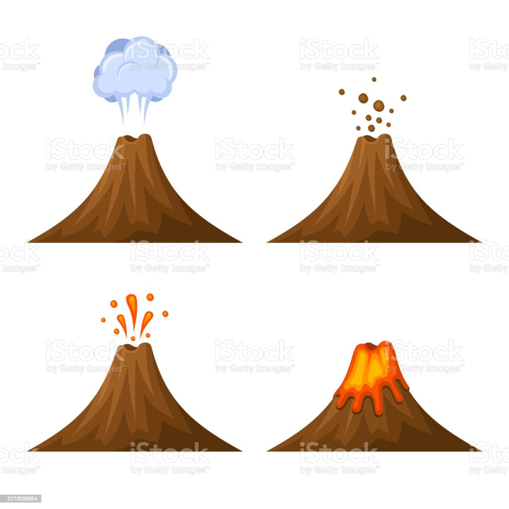 Volcano Icon Set Isolated on White Background. Vector vector art illustration