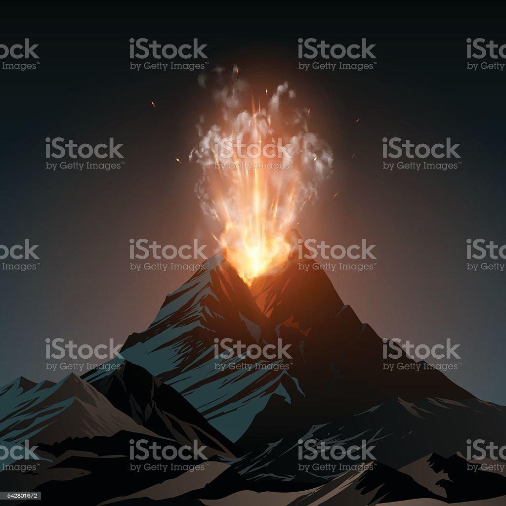 Volcano illustration vector art illustration