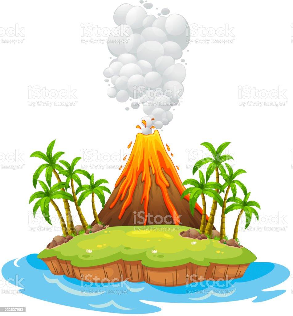 Volcano island vector art illustration