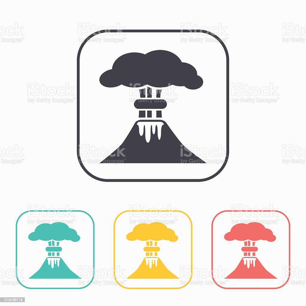 volcano mountain erupting icon color set vector art illustration