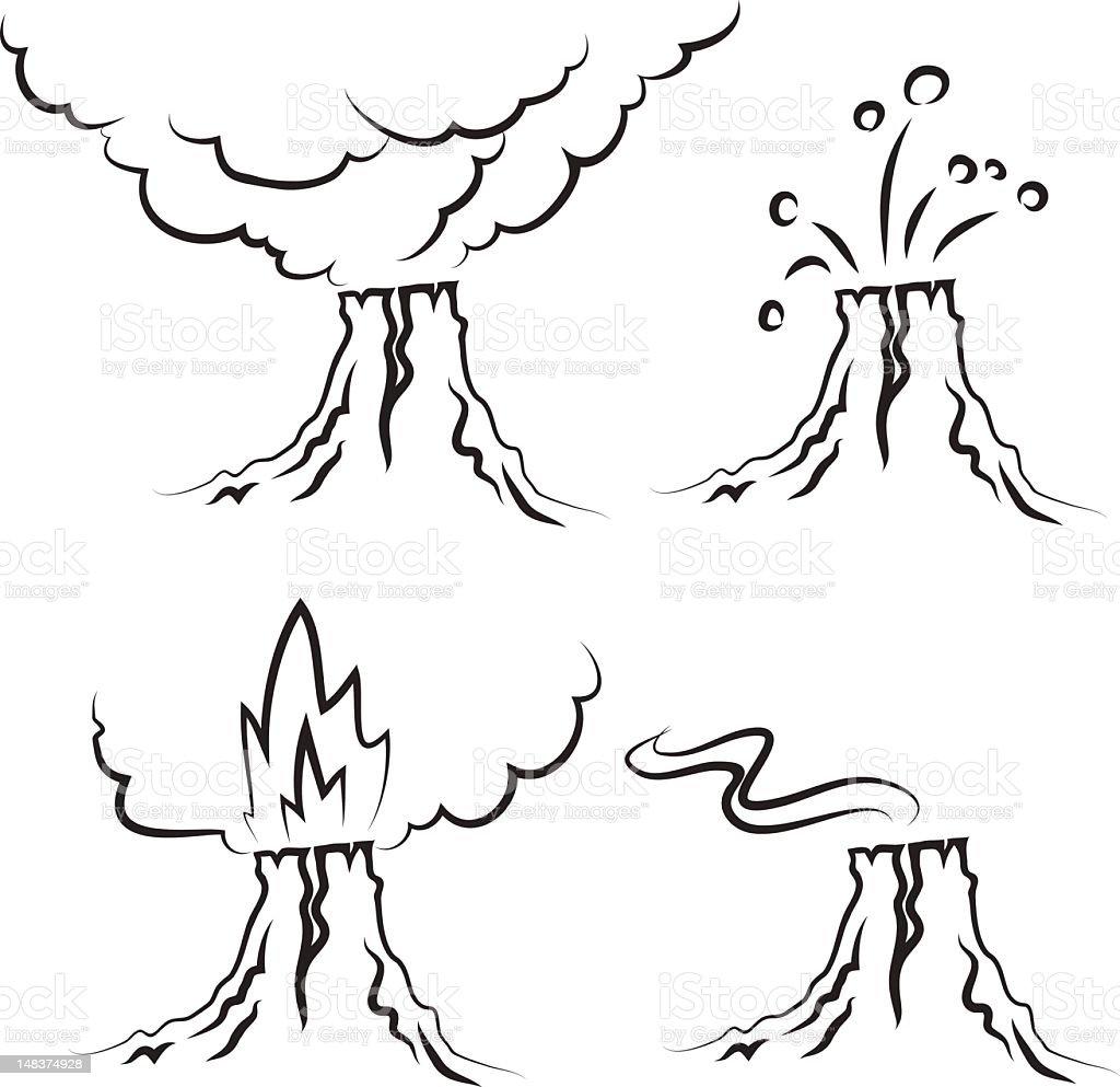 volcano vector art illustration
