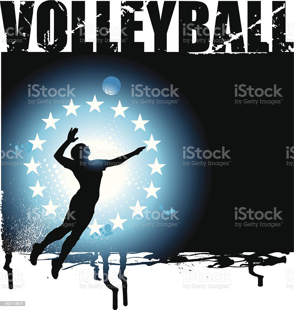 Volleyball All-Star Grunge Graphic - Girls Background royalty-free stock vector art