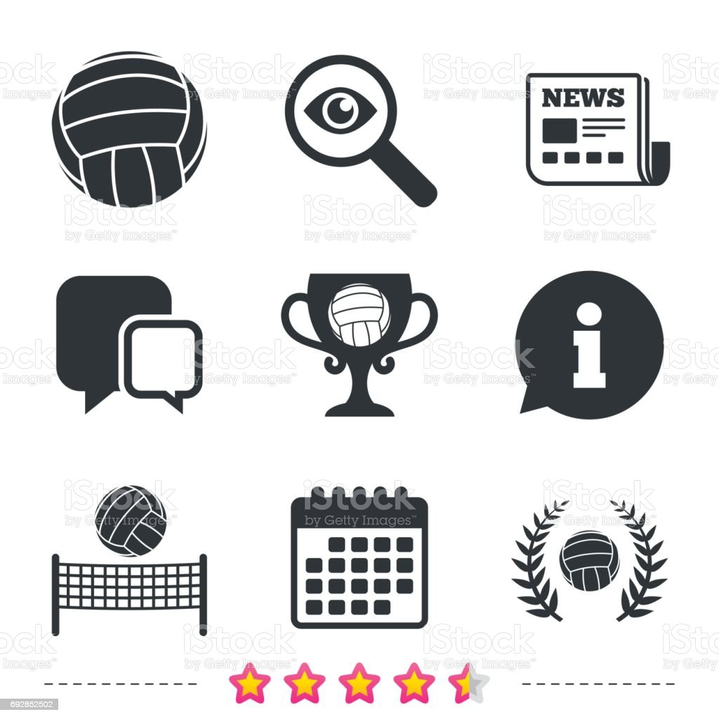 Volleyball and net icons. Winner award cup. vector art illustration