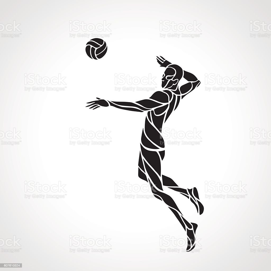 Volleyball attacker player silhouette vector art illustration